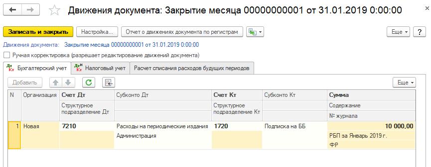 Пример расчета РБП по подписке на периодические издания